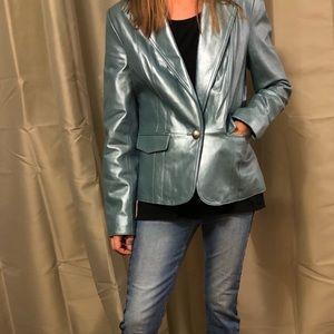 Genuine leather blazer.